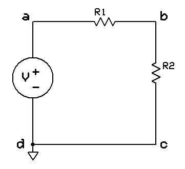 Fuente de voltaje formando malla con 2 resistencias