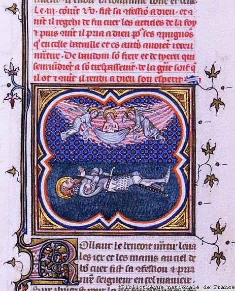 Os anjos levam a alma de Roland. Iluminura, BNF.