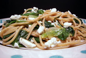 Whole-Wheat Spaghetti with Gorgonzola and Escarole