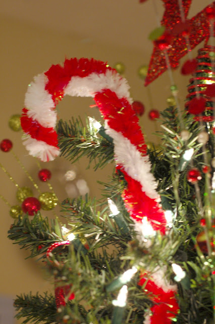 Decorate Christmas tree with DIY large pipe cleaner candy canes