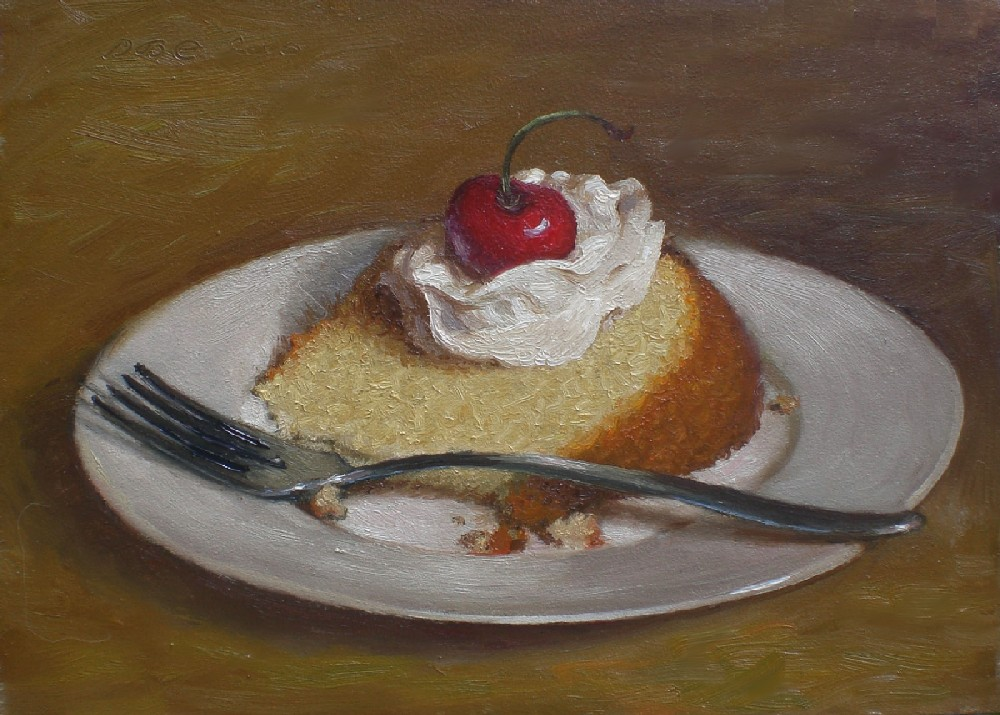 Debbie S Art Space Cake Still Life With Cherry