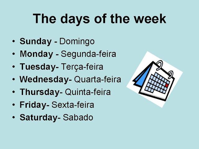 Site Do Felipe: Atividade Em Inglês Dias Da Semana