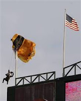 Skydiver at Rangers game