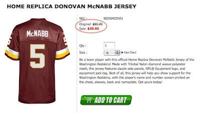 Donovan McNabb Redskins jersey is half off