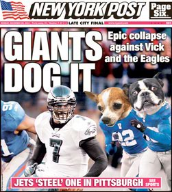 New York Post's Giants Dog It headline