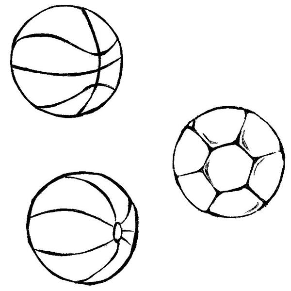 Desenhos Infantil Colorir Desenho De Bola De Futebol E Basquete
