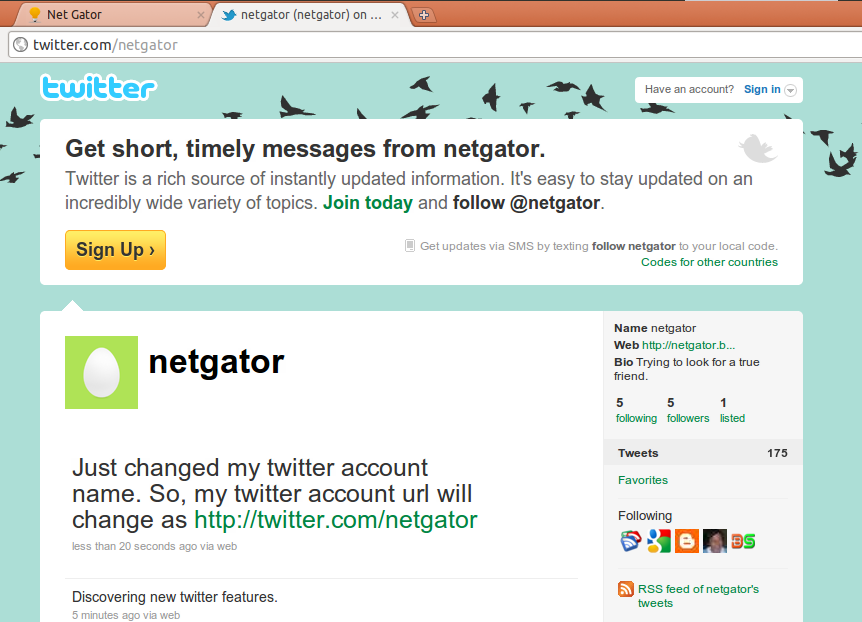 Changed Twitter Account Name ~ Net Gator