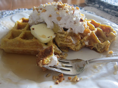 These pumpkin waffles are perfect for a fall morning around the family table; and my spiced whipped cream topping takes them to the next level! #WomenLivingWell #pumpkinrecipes #fallrecipes #easybreakfasts