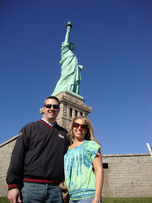 Together in front of the Statue of Liberty