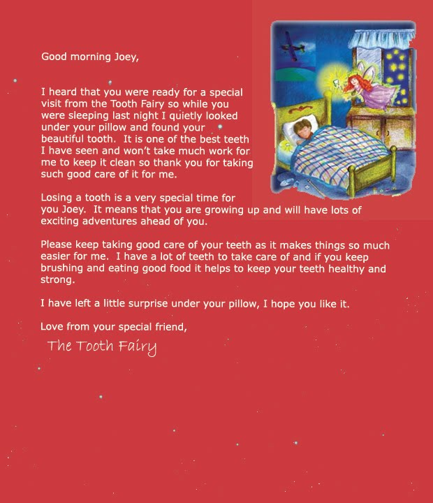 A Letter From Tooth Fairy Letter For A Boy