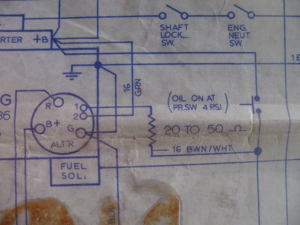 Here's the manufacturer's wiring schematic for the alternator. Looks pretty  simple, doesn't it? The field connection (terminal 1 on the alternator)  goes ...