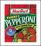 Hormel Turkey pepperoni packaging for the Turkey Bacon, Sausage and Pepperoni Deluxe Pizza