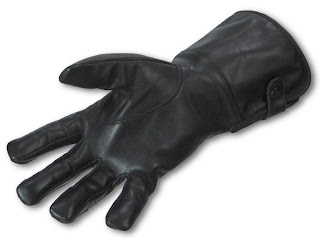 Black Leather Medieval Gauntlet Style Gloves