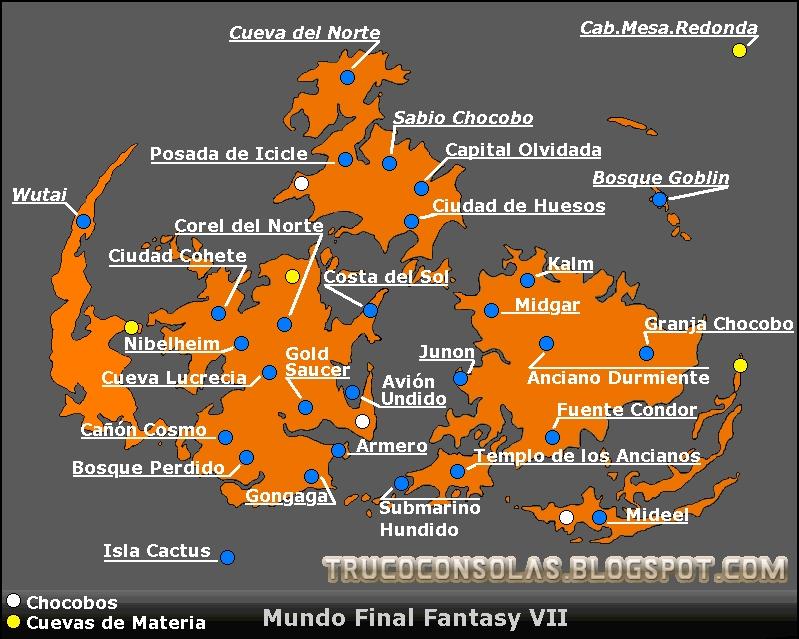 Mapa Final Fantasy 7.Mapa Final Fantasy 7 Mapa