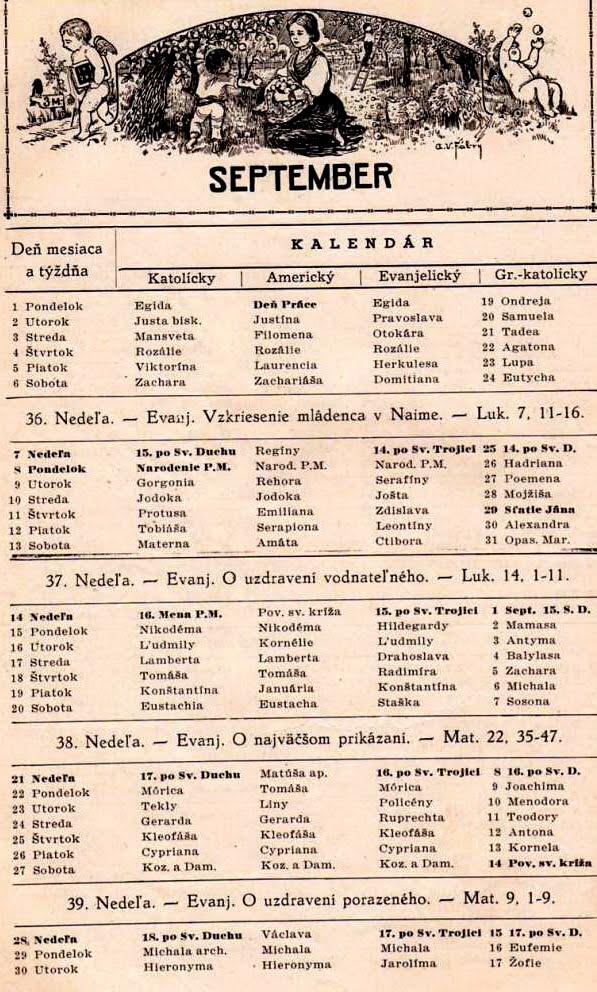 kalendar mena K  R  U  H  Y: Americký kalendár mien   September kalendar mena