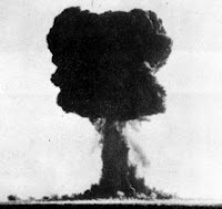 T1: Test:T1; Date:October 14 1953; Operation:Totem; Site:Emu Field, South Australia; Detonation:Tower Shot, altitude - 100ft(31m); Yield:10kt; Type:Fission
