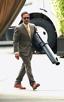 David Arquette Marching Into The Roosevelt Hotel Carrying a Giant Prop Gun