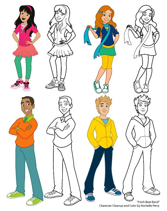 Free cartoon character coloring pages top coloring pages for Fresh beat band coloring pages