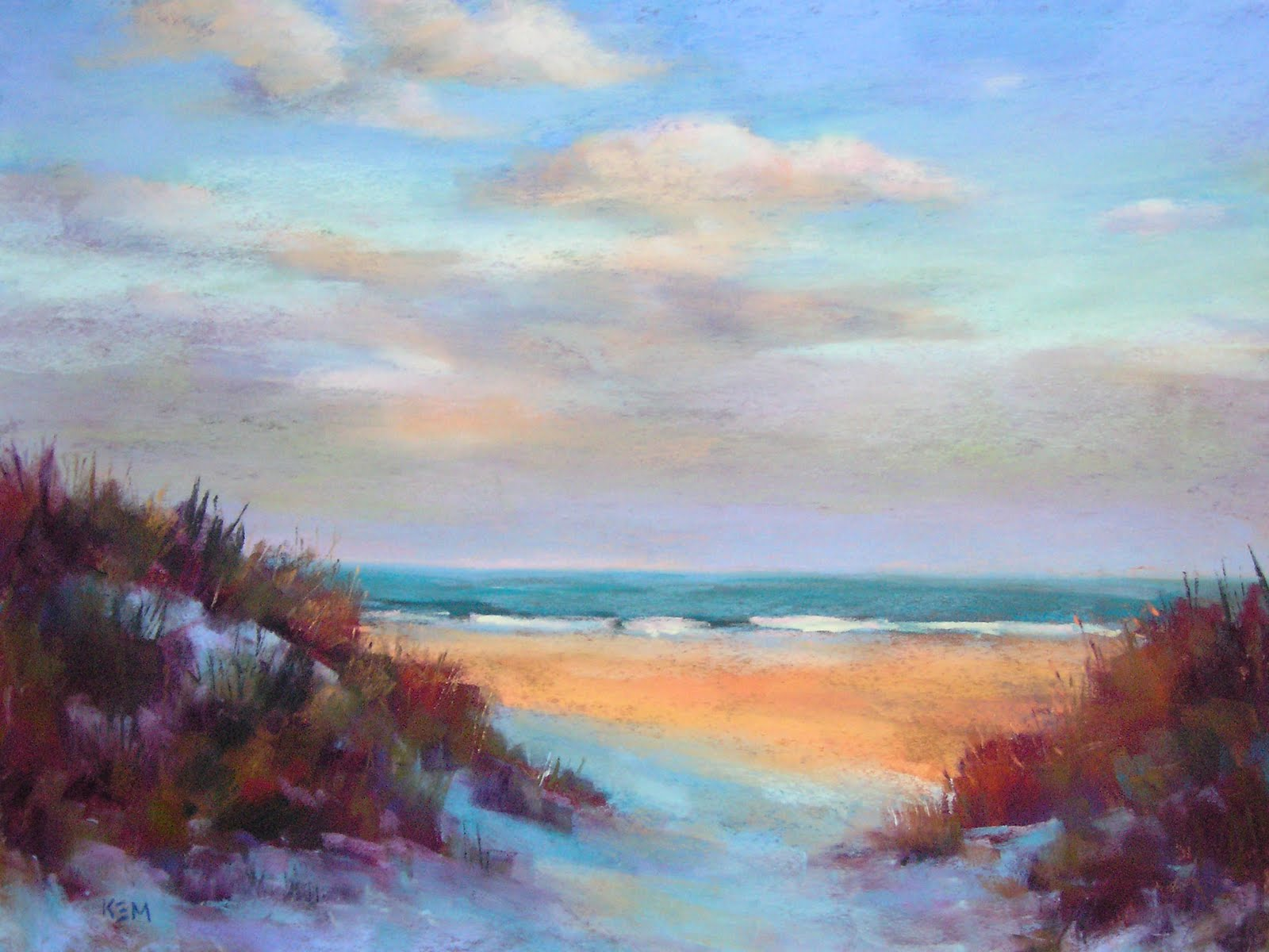 Sunset At The Beach Pastel 18x24