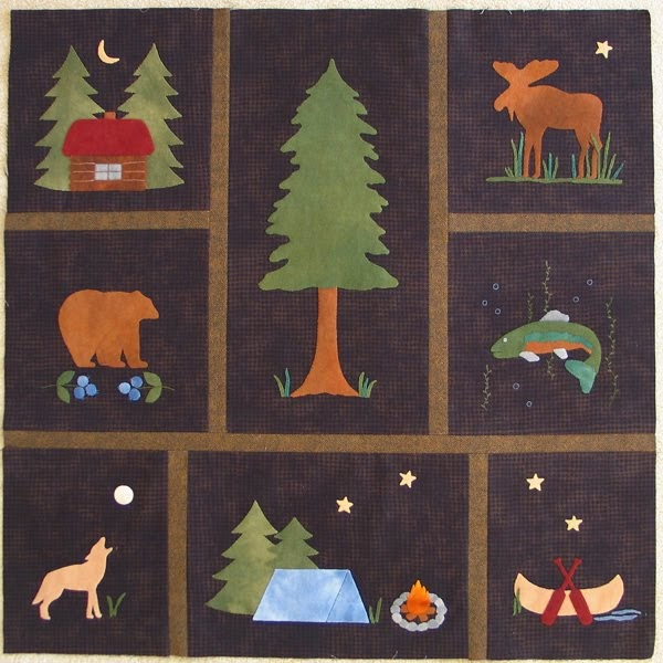 Cabin Creek Bear Lodge Block Of The Month Wool Quilt