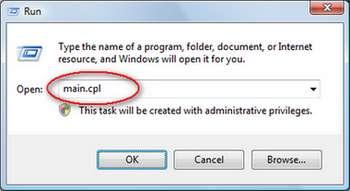 kotak dialog Run pada Windows Vista