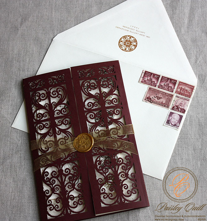 Paisley Quill: Spanish Style Laser Cut Invitations
