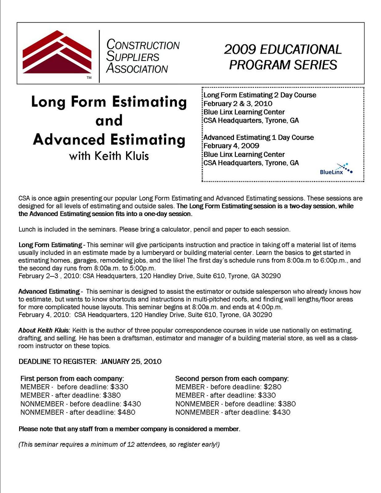 Building Strong Independent Dealers: Estimating Seminar: Register Now