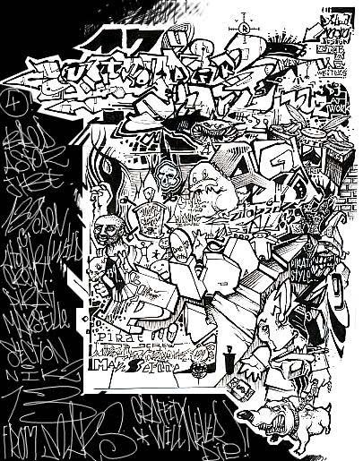 Graffiti Mural Black And White | www.imgkid.com - The ...
