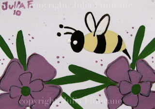 bee and purple flower aceo