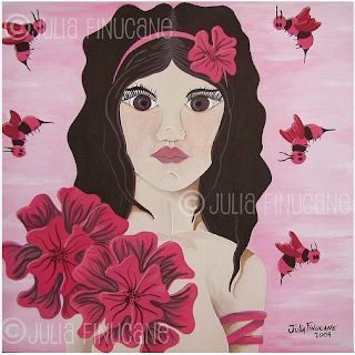 fantasy nymph image of pink petunia fairy by artist julia finucane