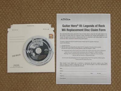 Guitar Hero 3 replacement disk and letter