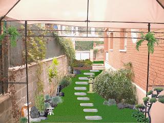 Diseño jardín sobre fotografía