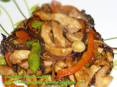 Chicken Stirfry with Black Fungus in Black Bean Sauce