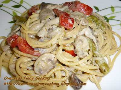Asparagus and Mushroom Spaghetti in White Sauce