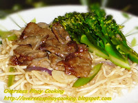 Pancit Canton and Bihon with Beef and Broccoli
