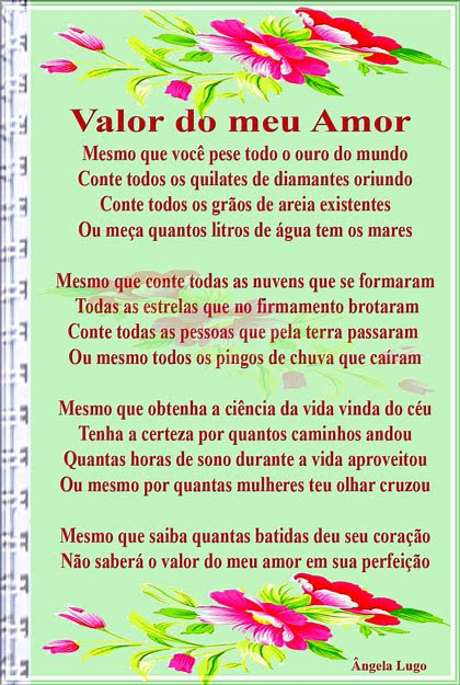 VALOR DO MEU AMOR