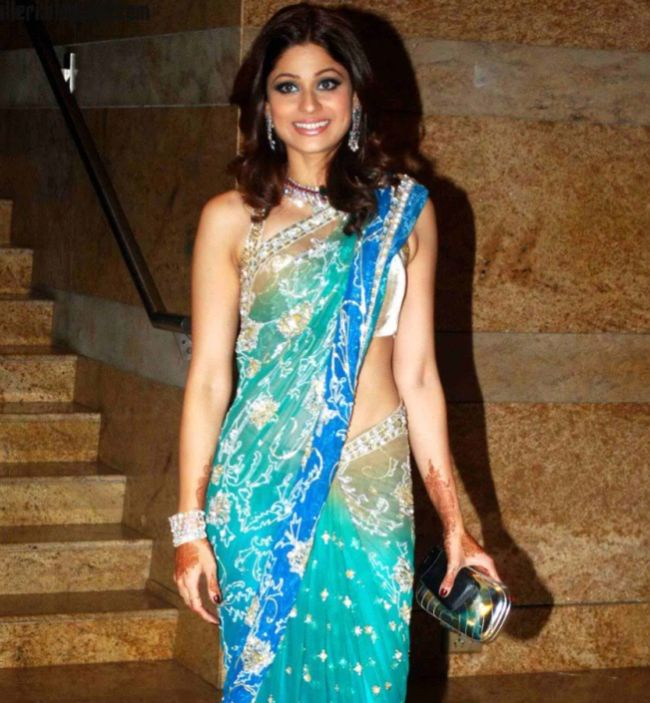 Shamita Shetty Gorgeous In Transparent Saree