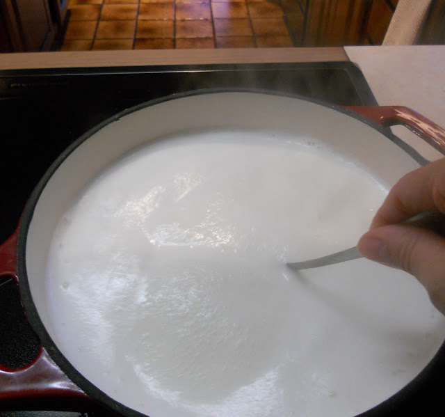 Bring heavy cream to a boil