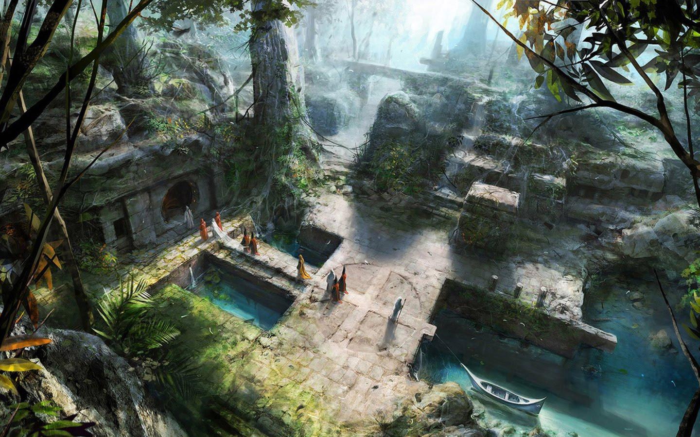 fantasy places temple ancient ruins secret mystical cities wallpapers artwork concept jungle hidden place forest lost painting background nature paysage