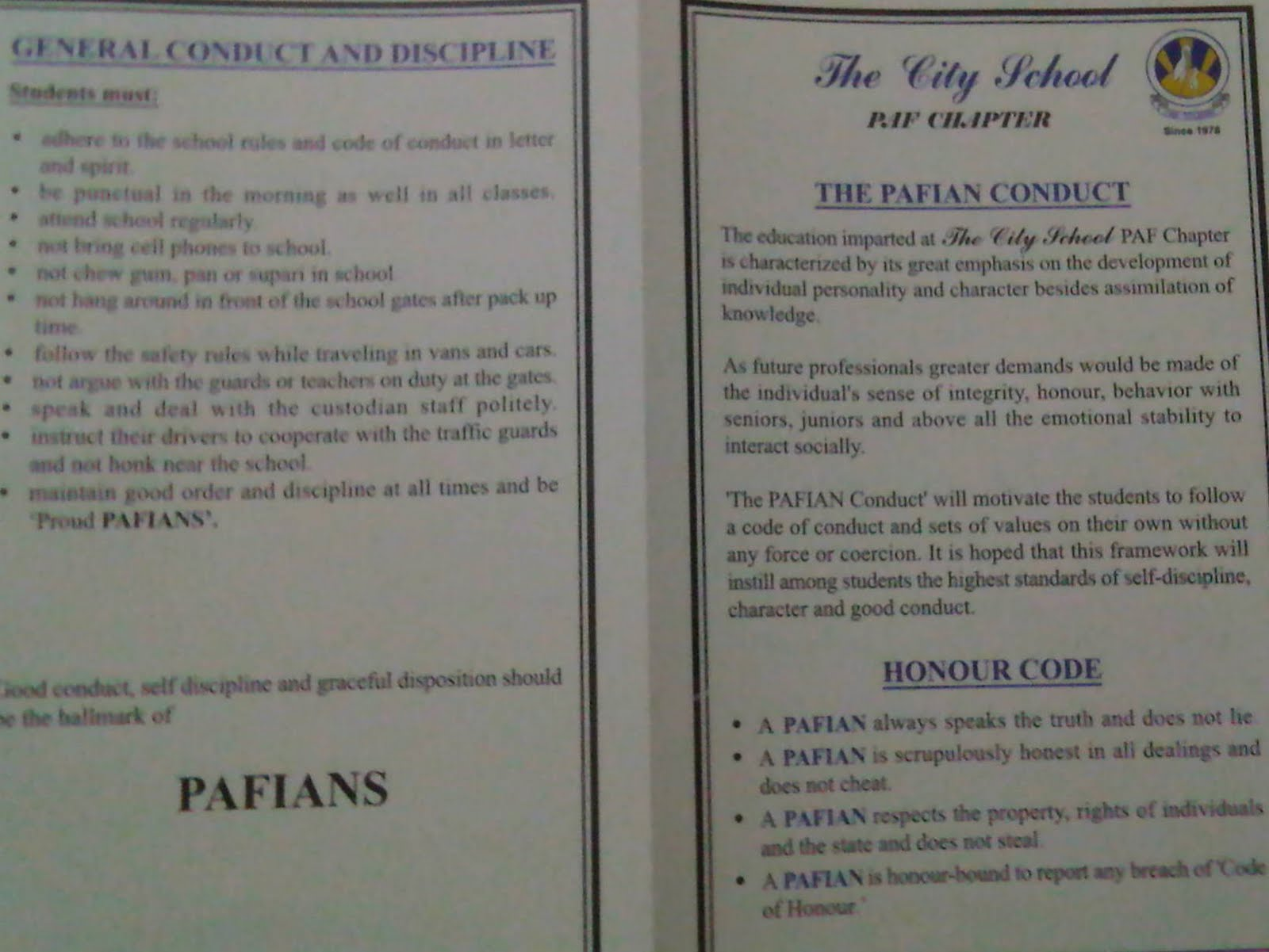 The City School Paf Chapter Jr C Section Pafian Code