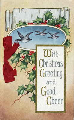 1914 Christmas card--ducks and holly