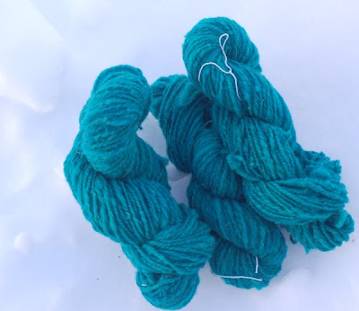 Teal handspun wool from local sheep