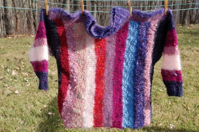 Mohair pullover, knit side-to-side