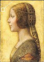Huella dactilar en La Bella Principessa de Leonardo Da Vinci, pergamino en tiza y tinta