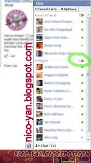 Tampilan chat di Facebook
