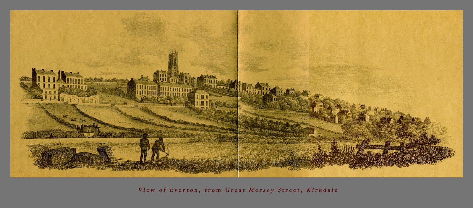 Early 19th century view of Everton Brow and St. George's Church, showing development of the ridge underway for wealthy merchants housing.