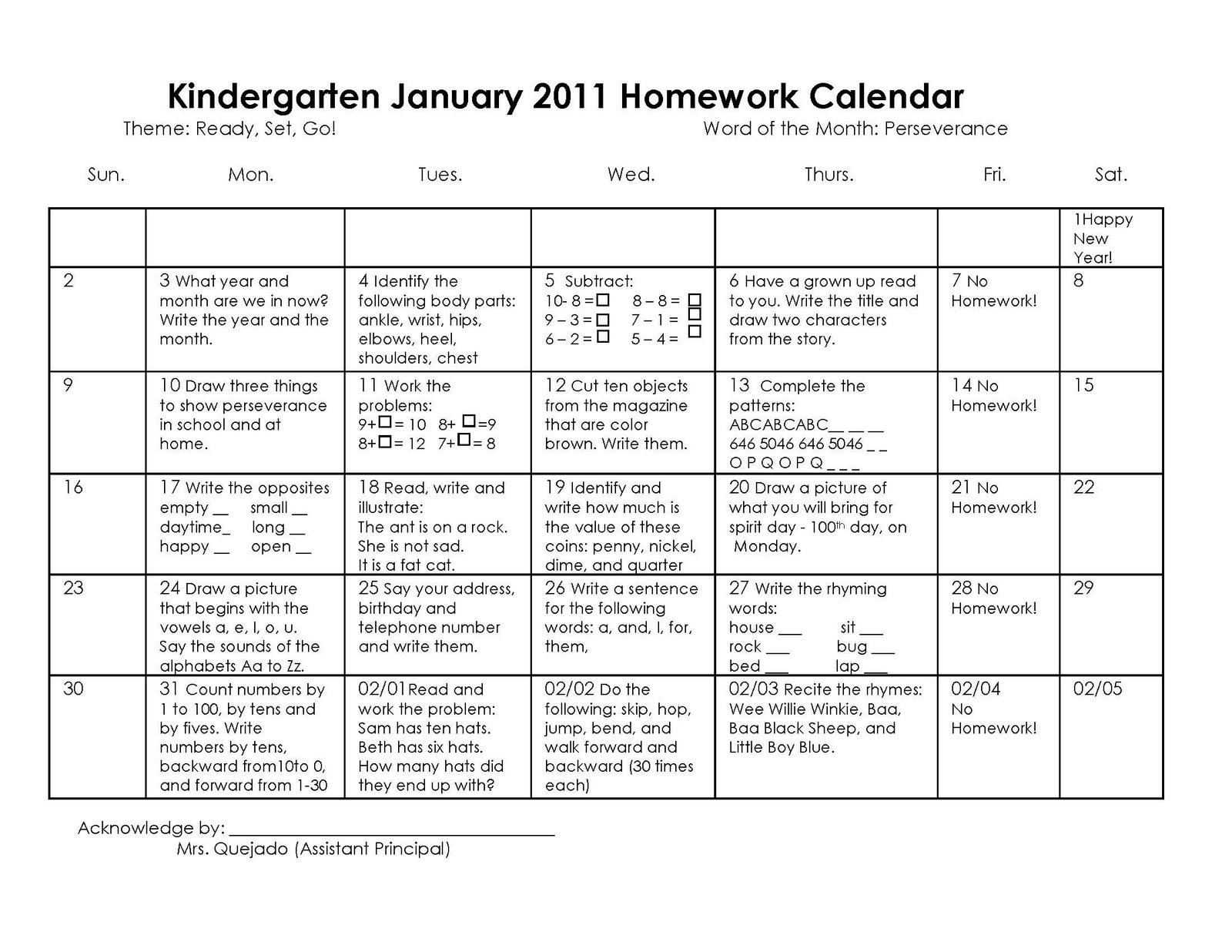 Monthly Homework Calendars For Kindergarten