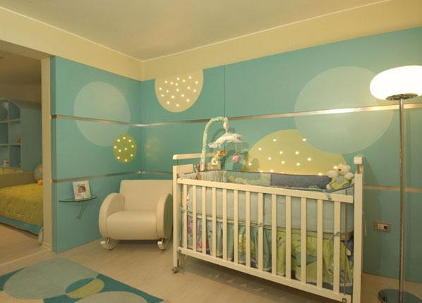 Dormitorio para bebe var n color turquesa verde y crema de - Habitacion para nino ...
