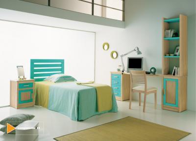 Dormitorio juvenil en tonos verdes y turquesa via - Decoracion en tonos turquesa ...
