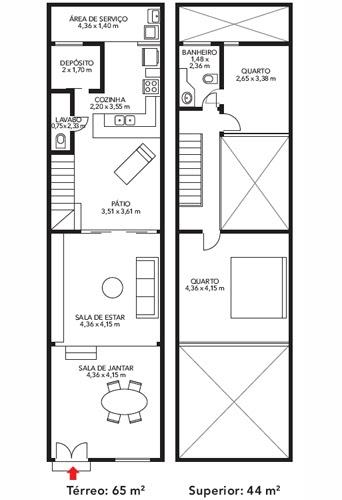 Plano de casa de 2 pisos en 65m2 planos de casas gratis for Diseno de apartamento de 4x8 mts